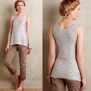 💗Anthropologie moth sana silver foil sweater top